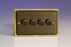 Varilight V-Pro 4-Gang 2-Way Push-On/Off Rotary LED Dimmer 4 x 0-100W (1-10 LEDs) in Antique Brass